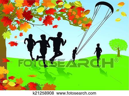 剪贴画 孩子, 在中, 秋天, 景色