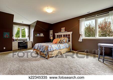 Arkivbilde   herre, soverom, inn, mørk, brun, farge, med, kontor ...