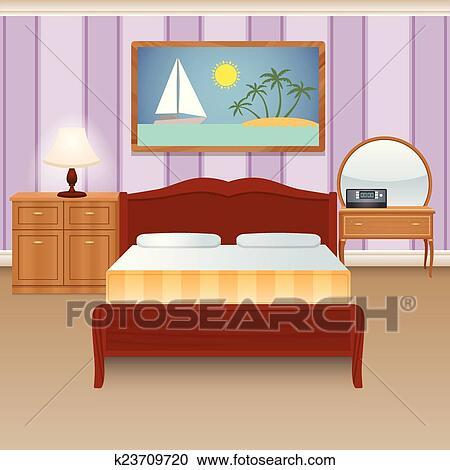 Clipart - bett, zimmer, innere k23709720 - Suche Clip Art, Illustration Wandbilder, Zeichnungen ...