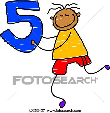 Drawing of number five k0222033 - Search Clipart, Illustration ...
