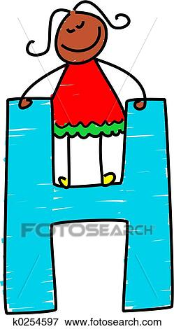 stock illustration of letter h girl k0254597 search eps clipart rh fotosearch com