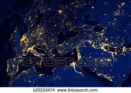 Stock photo of satellite map of european cities night k25253474 stock photo satellite map of european cities night fotosearch search stock images gumiabroncs Gallery