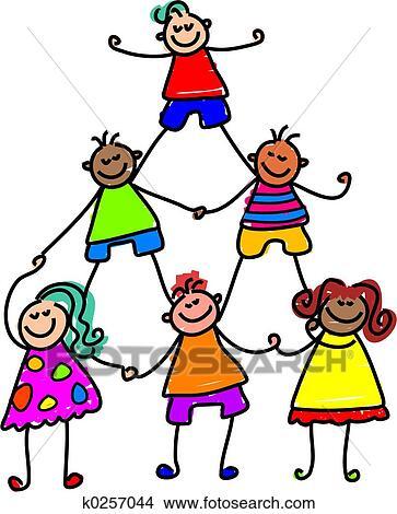 drawings of teamwork kids k0257044 search clip art illustrations rh fotosearch com teamwork clip art funny teamwork clipart free