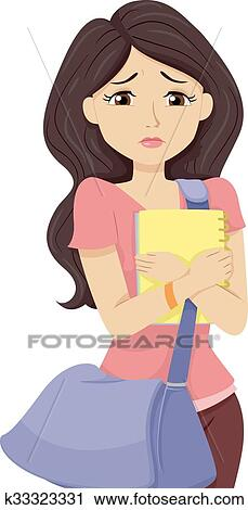 Clipart Of Teen Girl Worried College Prospects K33323331