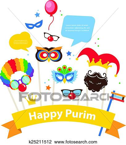 clipart of design for jewish holiday purim with masks and rh fotosearch com purim mask clip art purim clown clipart