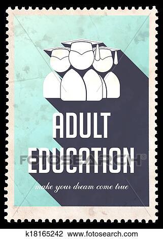 Clip Art of Adult Education on Light Blue in Flat Design ...