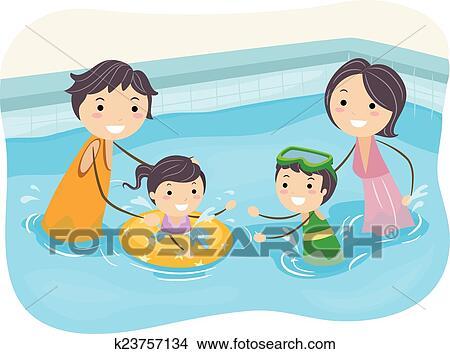 Clipart stickman natation famille piscine k23757134 - Clipart piscine ...