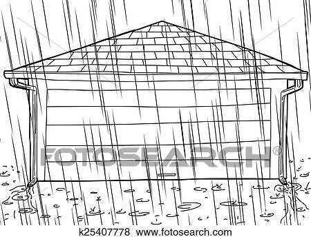 Clip Art Of Closed Garage Door And Rain K25407778