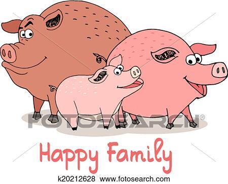 Clipart famille heureuse de amusement dessin anim - Dessin cochon debout ...