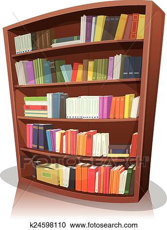 Library Bookshelf Clipart Clipart of Cartoon Lib...