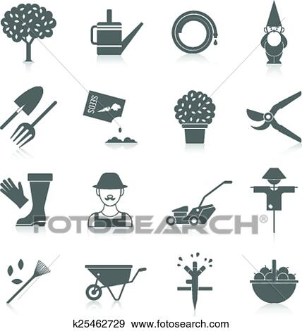 Clip Art of Vegetable garden icons set k25462729 Search Clipart