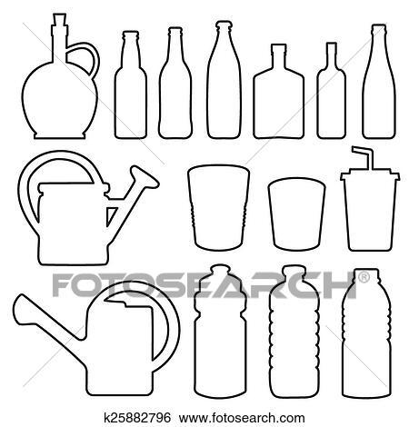 创意瓶子简笔画矢量图