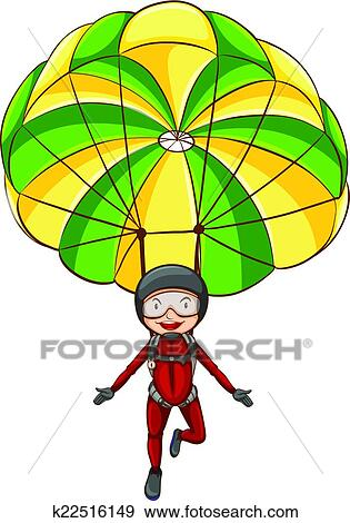 clip art of parachute k22516149 search clipart illustration rh fotosearch com parachute images clipart parachute clipart black and white