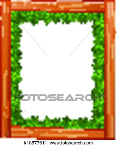 Clipart Of A Border Design Made Wood And Green Leaves K18877611