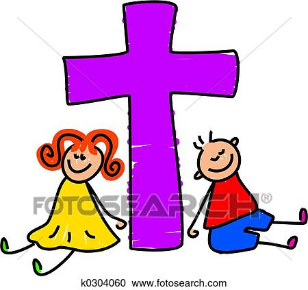 stock illustrations of christian kids k0304060 search clipart rh fotosearch com Religious African American Family Art Religious African American Family
