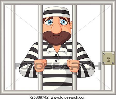 Clipart of Cartoon Prisoner behind bar k25369742 - Search Clip Art ...