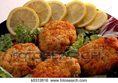 Stock Images of crab cakes k0312616 - Search Stock ...
