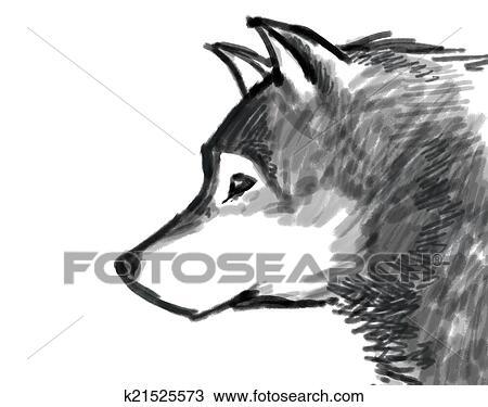 手绘图 - 雪, 狼, 图