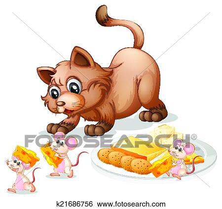 Clip art gatto e topi k21686756 cerca clipart for Gatto clipart