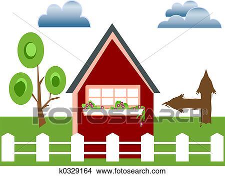 手绘图 - 栅栏, 房子