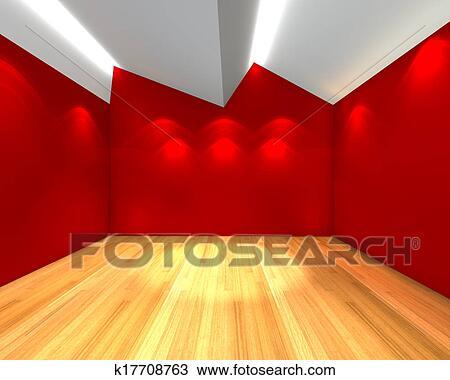 stanza vuota, parete rossa, con, soffitto, serration Visualizza ...