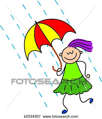 stock illustration of rainy day kid k0334307 search eps clipart rh fotosearch com rainy day clothes clipart rainy day clipart black and white