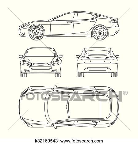 Clipart of car line draw four all view top side back insurance rent car line draw insurance rent damage condition report form blueprint malvernweather Gallery