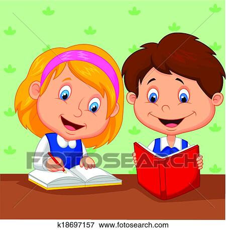 clip art of cartoon boy and girl study together k18697157 search rh fotosearch com Person Studying Clip Art little girl studying clipart