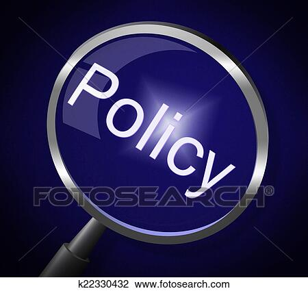 Clip Art of Policy Magnifier Shows Documentation Legal And ...