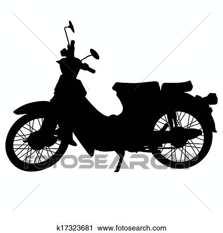 Clipart of vintage motorcycle silhouette vecto k17323681 ...