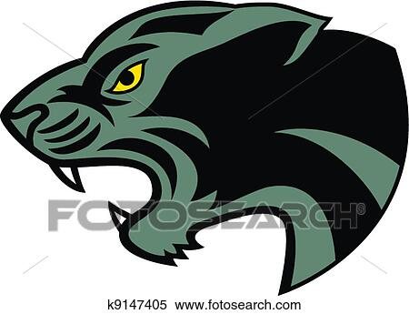 clipart of black panther head tattoo k9147405 search clip art rh fotosearch com Panther Mascot Clip Art Panther Paw Clip Art