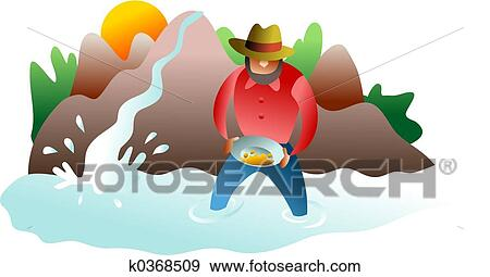 stock illustration of panning for gold k0368509 search