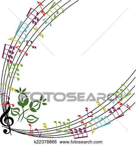 Clip art of music notes background stylish musical theme frame clip art music notes background stylish musical theme frame vector illu fotosearch voltagebd Image collections