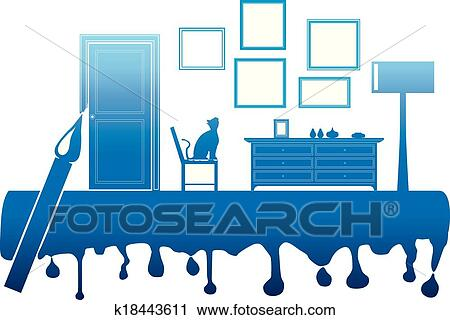 Clipart   Painting Interior Room. Fotosearch   Search Clip Art,  Illustration Murals, Drawings