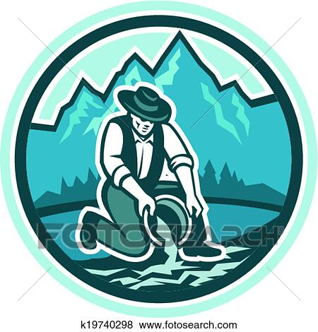 clip art of gold prospector miner panning circle retro