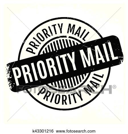 Clip Art Of Priority Mail Rubber Stamp K43301216 Search Clipart