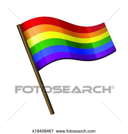 剪贴画 - 彩虹, 卷曲, 旗, 图标图片