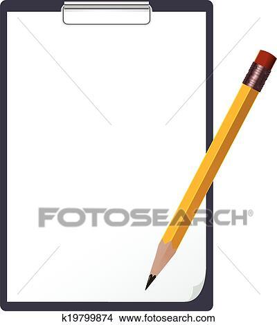 Tablet and Pencil Clip Art