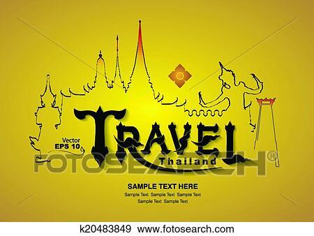 Line Art Vector Design : Clip art of thailand travel design vector k search