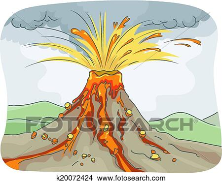 Clipart of Volcanic Eruption k20072424 - Search Clip Art ...