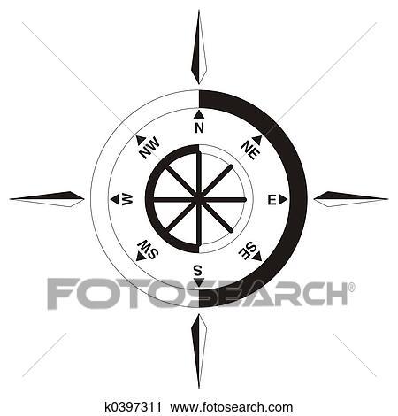 Clipart Of Compass Symbol K0397311 Search Clip Art Illustration