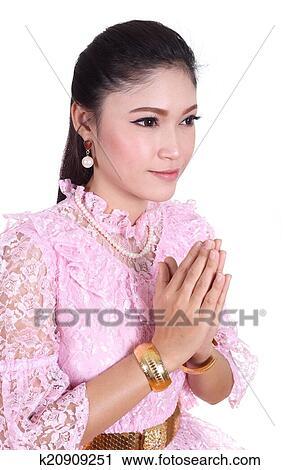 免版税(rf)类图片 - 妇女, 穿, 典型, 泰国人, 衣服, 支付, 尊重.