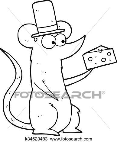 Käse clipart schwarz weiß  Clipart - schwarz weiß, karikatur, maus, mit, käse k34623483 ...