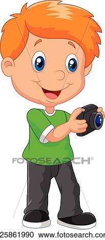 剪贴画 - 小男孩, 卡通漫画, 握住照相机