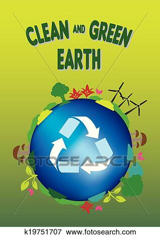 Clip Art Of Ecology Concept Clean And Green Earth