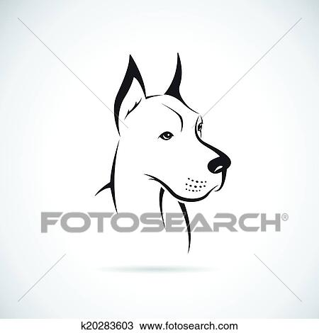 Clipart - vector, imagen, de, un, perro, (Great, Dane) k20283603 ...