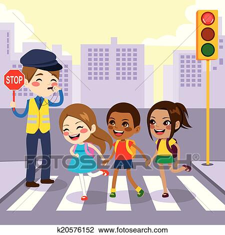 clipart of school children pedestrian crossing k20576152