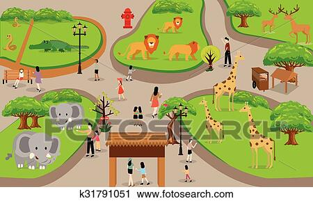 clipart of zoo cartoon people family with animals scene vector rh fotosearch com clip art zoo animals pictures clipart zone
