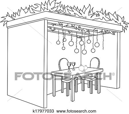 Clipart of Sukkah For Sukkot With Table Coloring Page k17977033 ...