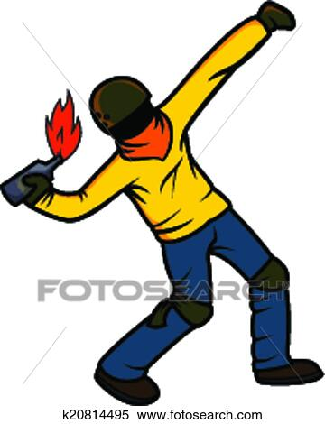 Clipart of Rebel Throwing Molotov Cocktail k20814495 - Search Clip ...